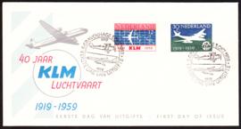FDC E40  ''KLM 40 jaar 1959'' ONBESCHREVEN met OPEN klep