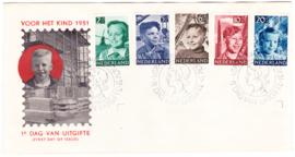 FDC E6 Kinderpostzegels 1951  gewist adres met open klep