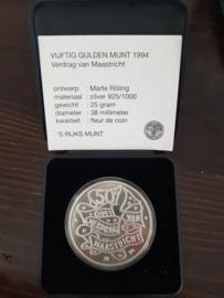 50 Gulden 1994 Marte Röling ''het verdrag van Maastricht'' Zilver  (FDC)