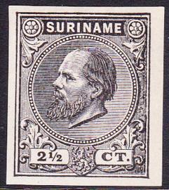 Suriname Proef 1 van de 2½ Ct. Willem III zoals uitgegeven zonder gom