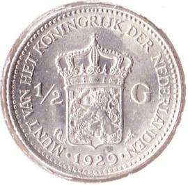 Nederland ½ gulden Zilver 1929A Koningin Wilhelmina Pracht