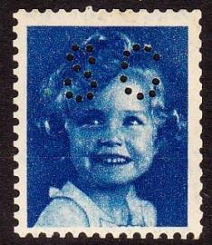 Proef zegel Shirley Temple kleur Blauw + perfin  E-0043