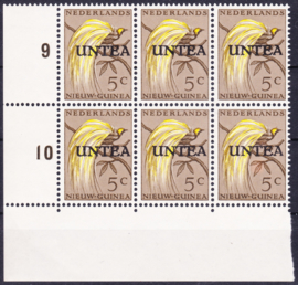 Plaatfout Ned. Nieuw Guinea 26 P met UNTEA opdruk  in blok van 6 Postfris