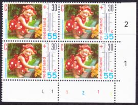 Plaatfout  1444 PM1 Postfris in blok van 4