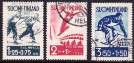 Finland 1938: Michel 208-210 Gebruikt