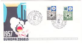 FDC E32  ''Europa-zegels 1957'' ONBESCHREVEN met OPEN klep