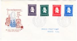 FDC E7 Jan van Riebeeck 1952  Getypt met Open klep