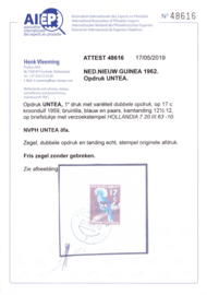 NVPH Untea 8fa met dubbele opdruk en Attest H. Vleeming