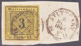 Württemberg Mi: 2 Gebruikt / Used op briefstukje E-7972