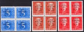 NVPH 22-24 Watersnoodzegels Postfris IN BLOKKEN VAN 4 cataloguswaarde 180,00