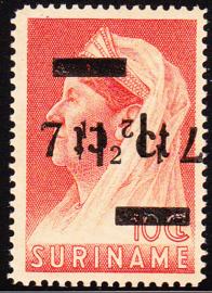 NVPH 213F Met dubbele opdruk waarvan 1 kopstaand Postfris