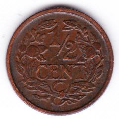 Halve cent 1934 Koningin Wilhelmina   (Pracht)
