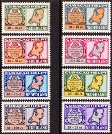 NVPH LP61-68 Luchtpostzegels Curacao helpt Nederland Postfris Cataloguswaarde 16,00 E-1134