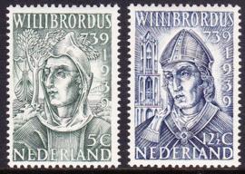 NVPH 323-324 Willibrordus 1939 Postfris Cataloguswaarde 17.00