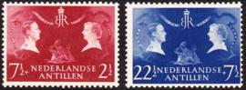 NVPH  253-254 Koninklijk bezoek 1955  Postfris cataloguswaarde: 2.00