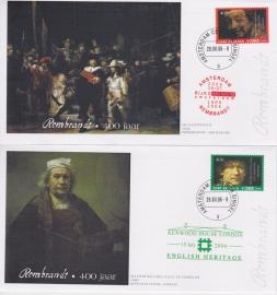 Set 4 enveloppen persoonlijke Port betaald zegels: 400 jaar Rembrandt set 2 KR-SP1