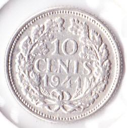 10 cent 1941  Zilver (Pracht)