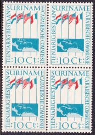 Suriname Plaatfout 325 P Postfris in blok van 4 Cataloguswaarde 15,00++