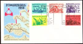 FDC E38  ''Zomerzegels 1959'' ONBESCHREVEN met dichte klep