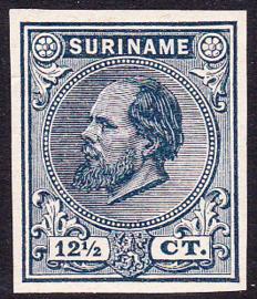Suriname Proef 10 van de 12½ Ct. Willem III  zoals uitgegeven zonder gom