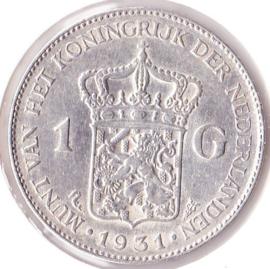 Nederland 1 gulden Zilver 1931 Koningin Wilhelmina ZF