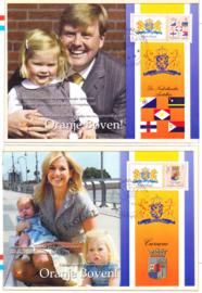 Set van 6 kaarten inc postzegels van ons Koninklijk gezin op bezoek bij de Nederlandse Antillen