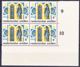 Ned. Antillen plaatfout 372 P Postfris in blok van 4