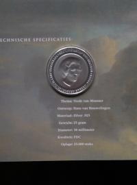 50 Gulden 1998 Hans van Houwelingen ''350 jaar vrede van Munster'' Zilver  (FDC)
