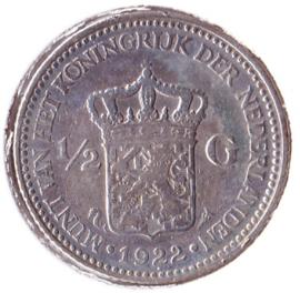 Nederland ½ gulden Zilver 1922 Koningin Wilhelmina F+