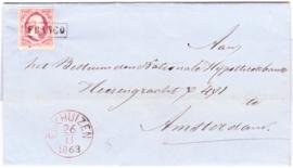 NVPH 2 op complete vouwbrief verzonden vanuit Enkhuizen 26-11-1863