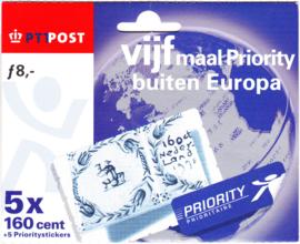 NVPH HB1748 Vijf maal priority buiten Europa (5x 1,60)  Cataloguswaarde 15,00
