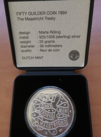50 Gulden 1994  ''The Maastricht Treaty'' Zilver  (FDC)