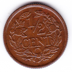 Halve cent 1936 Koningin Wilhelmina   (Pracht)