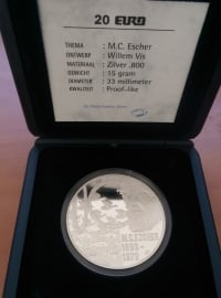 20 Euro 1998 M.C. Escher  Zilver  (Proof)