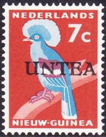 Ned. Nieuw Guinea / UNTEA  Opdrukafwijking UNafw PM3   op de 7 CT Postfris