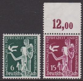 Mi 622-623 Weltkongress Fur Freizeit und Erholung Hamburg Postfris Cataloguswaarde: 18,00 E-2906