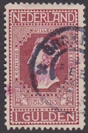 NVPH   98 Jubileum 1913 gebruikt + MEGA KLEURVEEG Cataloguswaarde 25.00 (normaal zegel)  E-4686