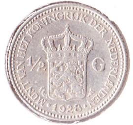 Nederland ½ gulden Zilver 1928 Koningin Wilhelmina ZF