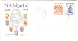 FDC E30  ''Michiel de Ruyter 1957'' ONBESCHREVEN met OPEN klep