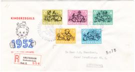 FDC E11 ''Kinderpostzegels 1952'' Getypt met dichte klep