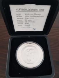 50 Gulden 1998 H. van Houwelingen ''Vrede van Munster'' Zilver  (PROOF)
