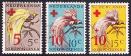 NVPH 38-40  Rode Kruiszegels Paradijsvogels gestempeld