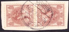 NVPH   61B Tete-Beche gebruikt op briefstukje Cataloguswaarde 100.00++