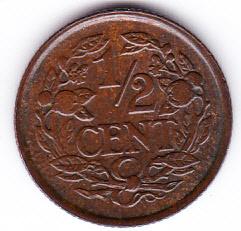 Halve cent 1938 Koningin Wilhelmina   (Pracht)