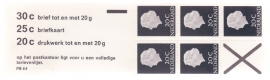 Postzegelboekje  6fFp   + poot links boven Smal (S) Postfris  Cataloguswaarde 7,50++  A-1734