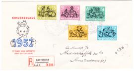 FDC E11 ''Kinderpostzegels 1952'' Beschreven met open klep