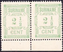 Plaatfout Suriname 66 P  2x in paar Postfris