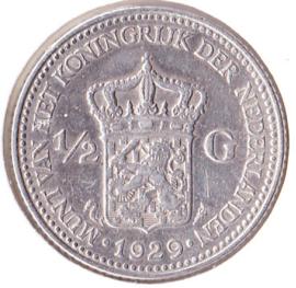Nederland ½ gulden Zilver 1929A Koningin Wilhelmina ZF