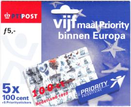 NVPH HB1747 Vijf maar priority binnen Europa (5x 1,00)  Cataloguswaarde 50,00