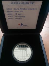 1 Gulden 2001 Koningin Beatrix Zilver  925/1000  (PROOF)